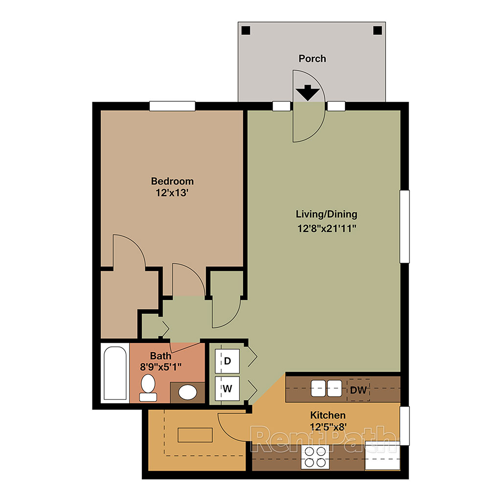 1 Bed and 1 Bath with Porch at Monona Floor Plan