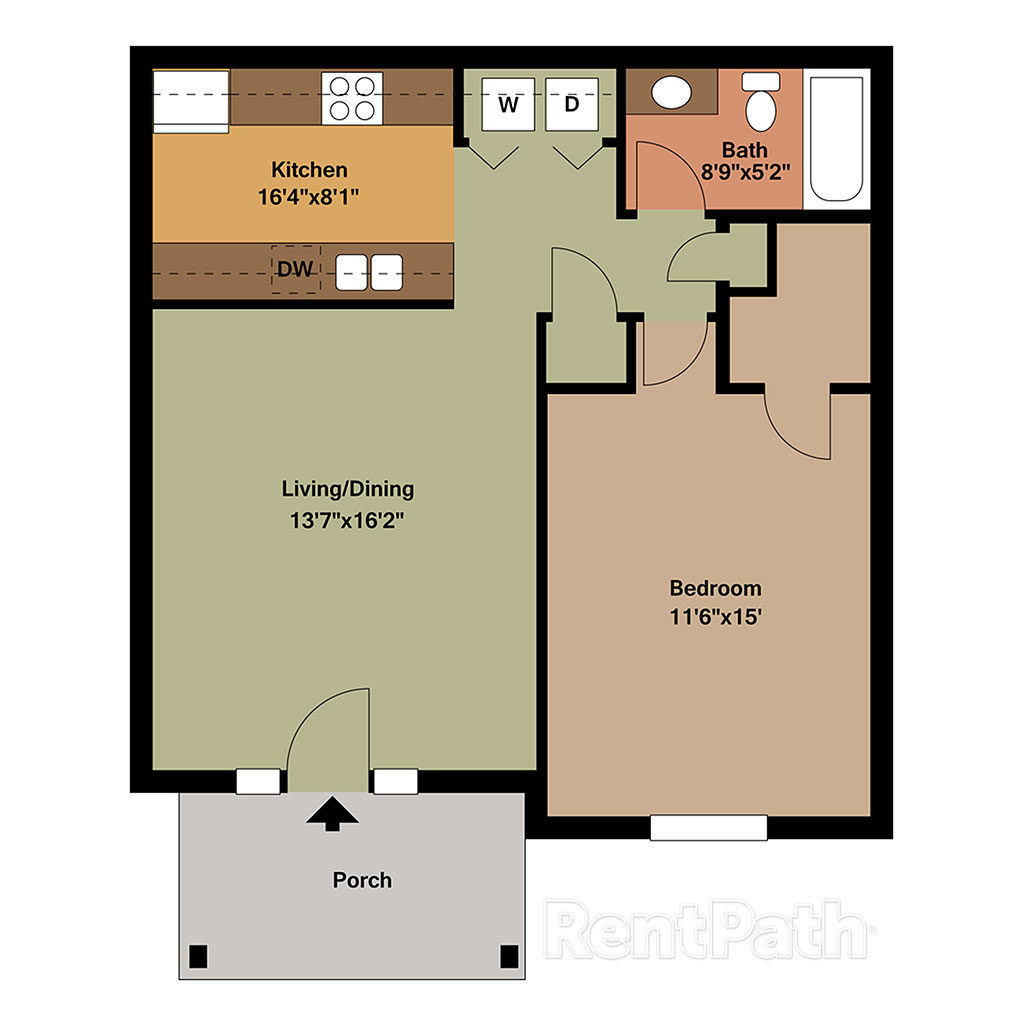 1 Bedroom 1 Bath with Porch Floor Plan