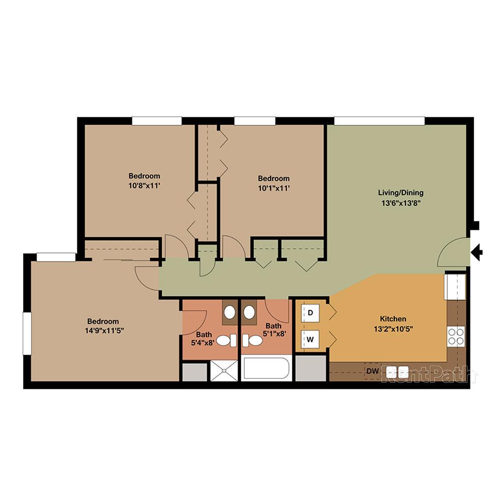 3 Bedroom and 2 Bath Monona Floor Plan
